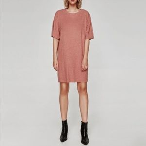 Zara ribbed t shirt mini dress pink M